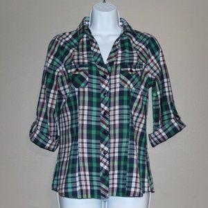 Passport Plaid Button Down Rolled-Up Sleeve